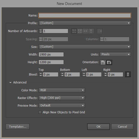 Illustrator New Document Setup