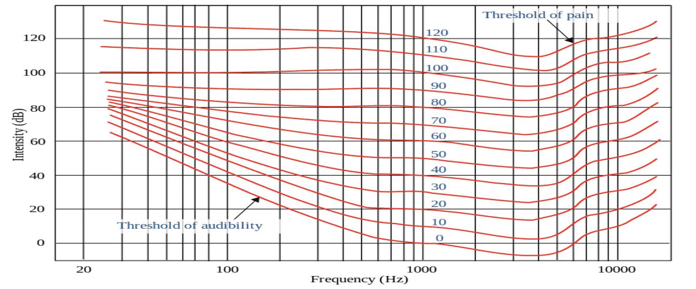 A Fletcher Munson curve.